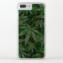 Weed leaves pattern Clear iPhone Case