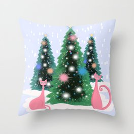 Pink And Perfect Kitty Cats In The Sparkling Snow Throw Pillow