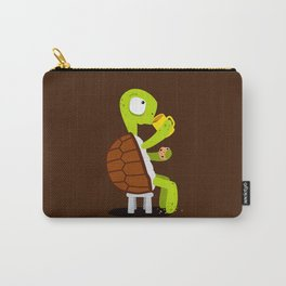 Turtle drinking tea with cookies. Carry-All Pouch
