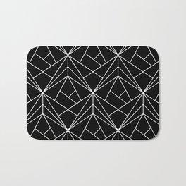 White Geometric Pattern on Black Background Bath Mat