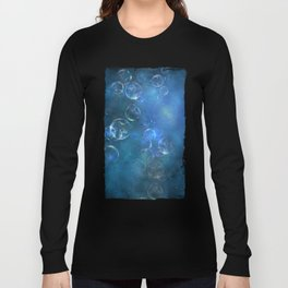 floating bubbles blue watercolor space background Long Sleeve T-shirt