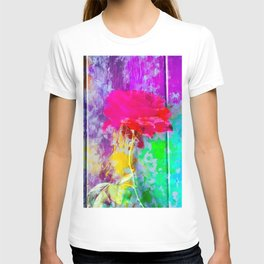 red rose with pink purple blue green yellow painting abstract background T-shirt