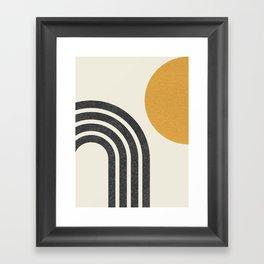 Mid century modern Sun & Rainbow Framed Art Print