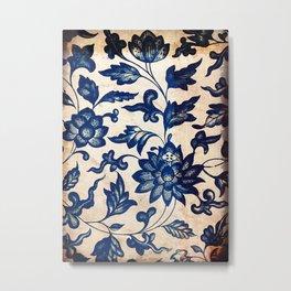 Blue Oriental Vintage Tile 06 Metal Print