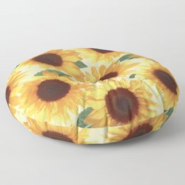 Happy Yellow Sunflowers Floor Pillow
