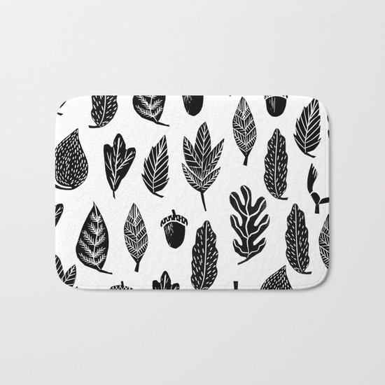 Black and white linocut leaves fall autumn pattern minimal art print home decor Bath Mat