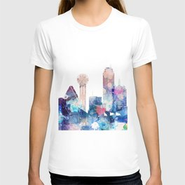 Blue Watercolor Dallas skyline design T-shirt
