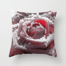 Frozen rose- with hoarfrost covered rose Throw Pillow