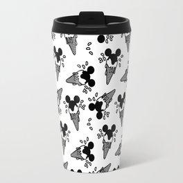 B&W Mickey Icecream Splash Pattern Travel Mug