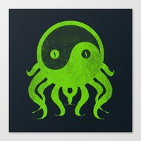 cthulu Canvas Prints featuring yin yang cthulu by frederic levy-hadida