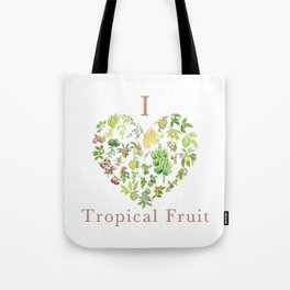 Tropical Fruit Love Heart Tote Bag