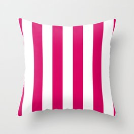 Bright Pink Peacock and White Wide Vertical Cabana Tent Stripe Throw Pillow