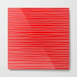 Scarlet Red Pinstripes Metal Print