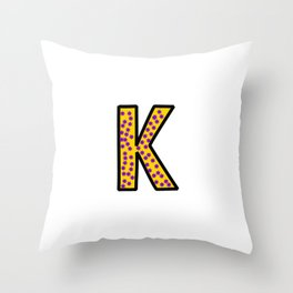 Uppercase Letter K Doodle Throw Pillow