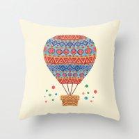 hot air balloon Throw Pillows featuring Hot Air Balloon by haidishabrina