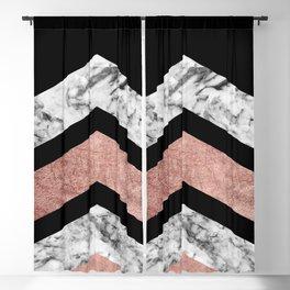 Modern rose gold black white geometric marble Blackout Curtain
