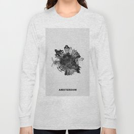 Amsterdam, The Netherlands Black and White Skyround / Skyline Watercolor Painting Long Sleeve T-shirt