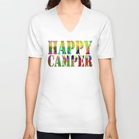 camp V-neck T-shirts featuring Camp Fire by Gréta Thórsdóttir
