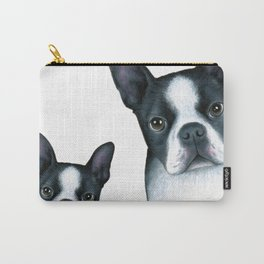 Dog 128 Boston Terrier Dogs black and white Carry-All Pouch