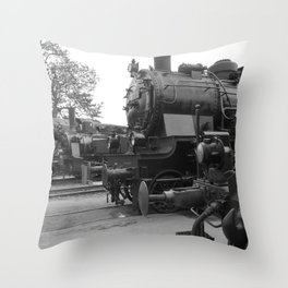 Old steam locomotive in the depot ZUG003CBx Le France black and white fine art photography by Ksavera Throw Pillow