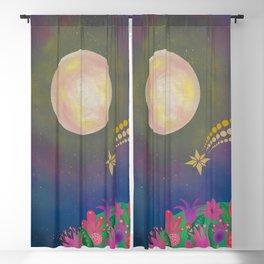Full Moon - Scandinavian Folk Art Blackout Curtain