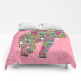 painted elephant pink spot Comforters