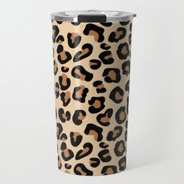 Leopard Print, Black, Brown, Rust and Tan Travel Mug