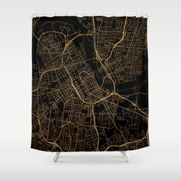 Black and gold Nashville map Shower Curtain