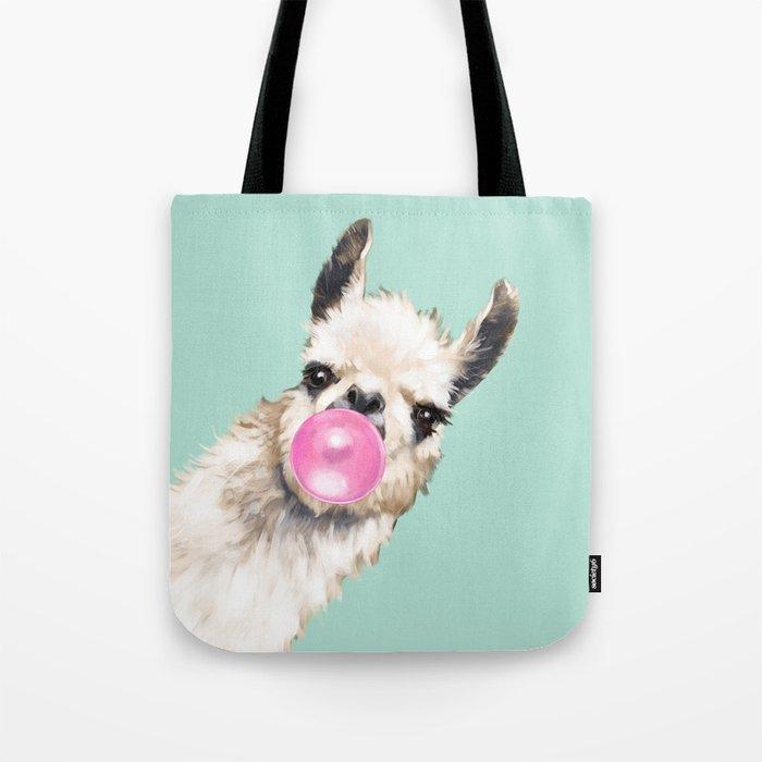 Bubble Gum Sneaky Llama in Green Tote Bag