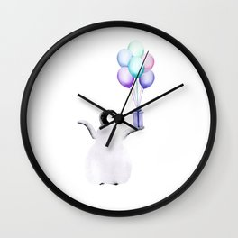 Penguin With Balloons Wall Clock