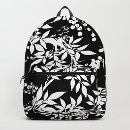 Toile White and Black Tangled Leaves Pattern Backpack