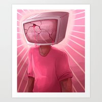 cracked Art Prints featuring cracked. by Zombie Rufio