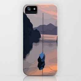 Boat At Bozburun At Sunset Vector Image iPhone Case