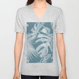 Teal Blue Tropical Palm Leaves Unisex V-Neck