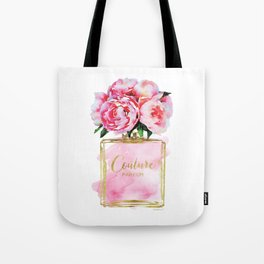 Perfume bottle with flowers, Peony, Peonies, Pink, gold, watercolor, Perfume, Pink, Gold ,Fashion Tote Bag