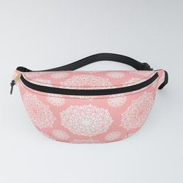 White Floral Mandala Pattern on Coral - Mix & Match with Simplicity of Life Fanny Pack