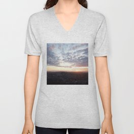 Salisbury Crags overlooking Edinburgh at sunset 4 Unisex V-Neck
