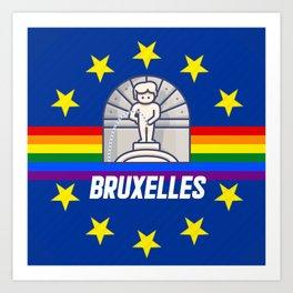 Brussels Bruxelles Lgbt gay pride season rainbow flag  Art Print