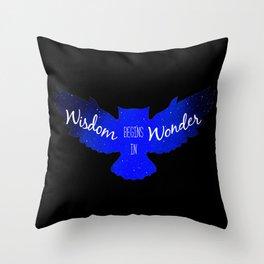 Wisdom Begins in Wonder - Galaxy Owl with Dark Background Throw Pillow