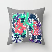 lungs Throw Pillows featuring Lungs by LAM Hamilton