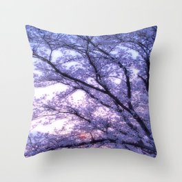 Periwinkle Lavender Flower Tree Throw Pillow