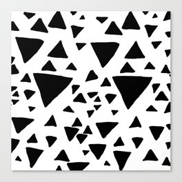 Black white hand painted geometric triangles Canvas Print