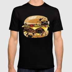 Pugs Burger Mens Fitted Tee X-LARGE Black