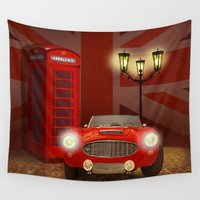 british Wall Tapestries featuring British RED by Monika Juengling