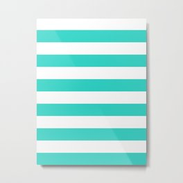 Horizontal Stripes - White and Turquoise Metal Print
