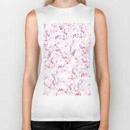 Blush pink white hand painted watercolor elegant modern floral Biker Tank