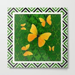 Yellow Butterflies Abstracted Green-white Pattern Art Metal Print