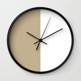 White and Khaki Brown Vertical Halves Wall Clock