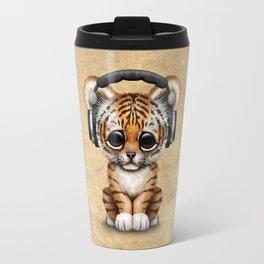 Cute Tiger Cub Dj Wearing Headphones Travel Mug