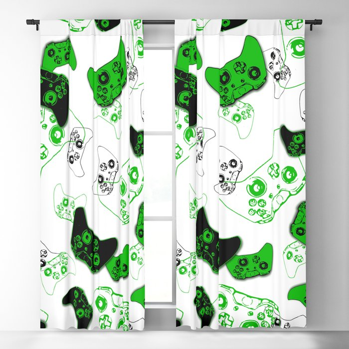 Video Game White and Green Blackout Curtain